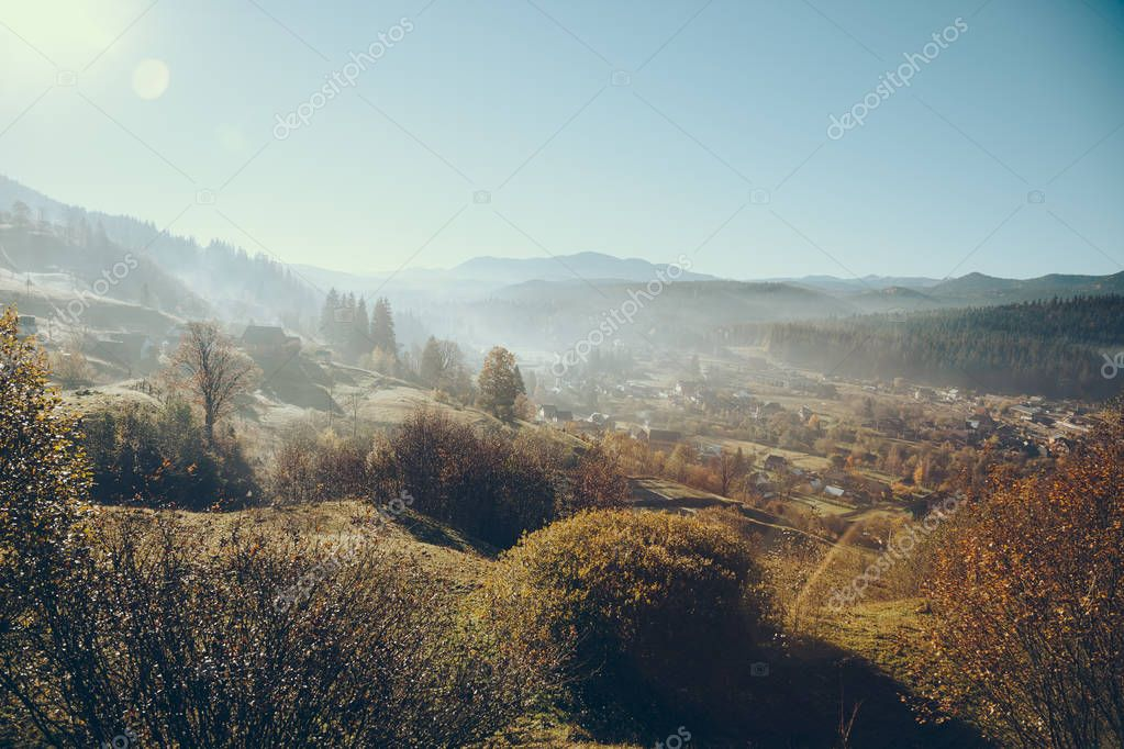 aerial view of beautiful Carpathians and Vorokhta town, Ukraine