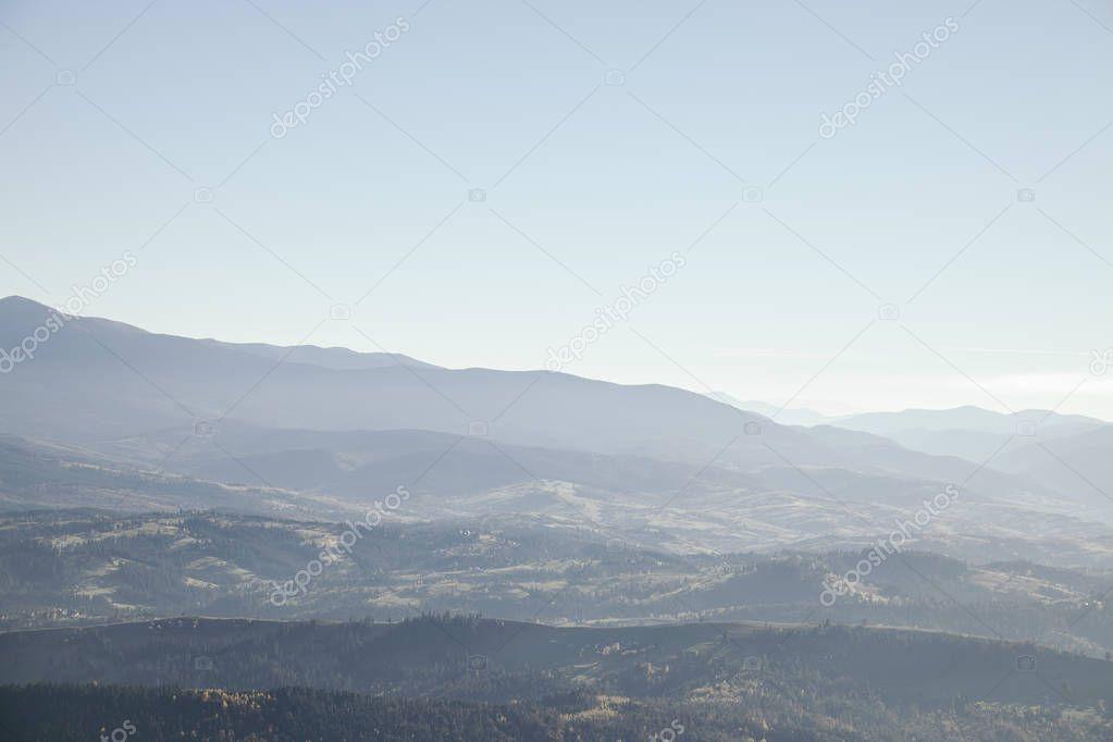 foggy mountains landscape, Carpathians, Ukraine