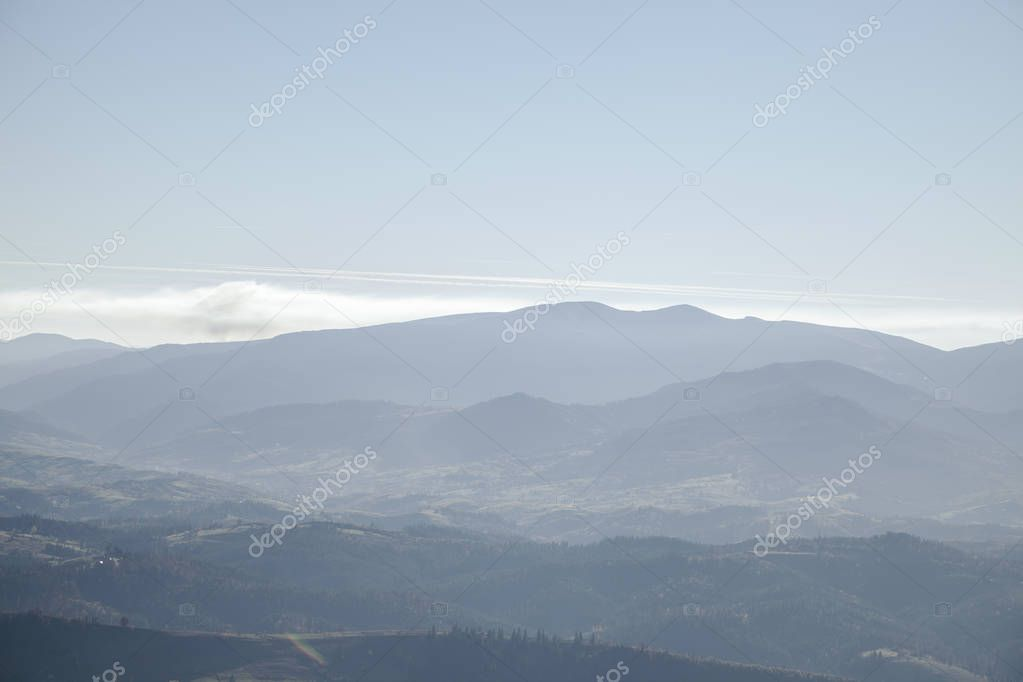 Фотообои hazy mountains landscape, Carpathians, Ukraine