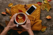 partial view of woman holding cup of tea on wooden tabletop with knitted sweater, smartphone and fallen leaves