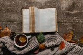 Fotografie flat lay with grey sweater and cup of tea, blank notebook and fallen leaves on wooden tabletop