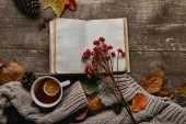 flat lay with blank notebook, red holly berries, cup of tea and sweater on wooden tabletop