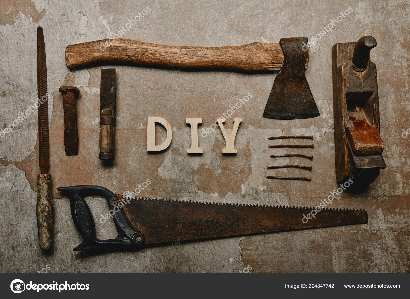 Flat Lay Set Carpentry Tools Diy Sign Old Surface Stock Photo