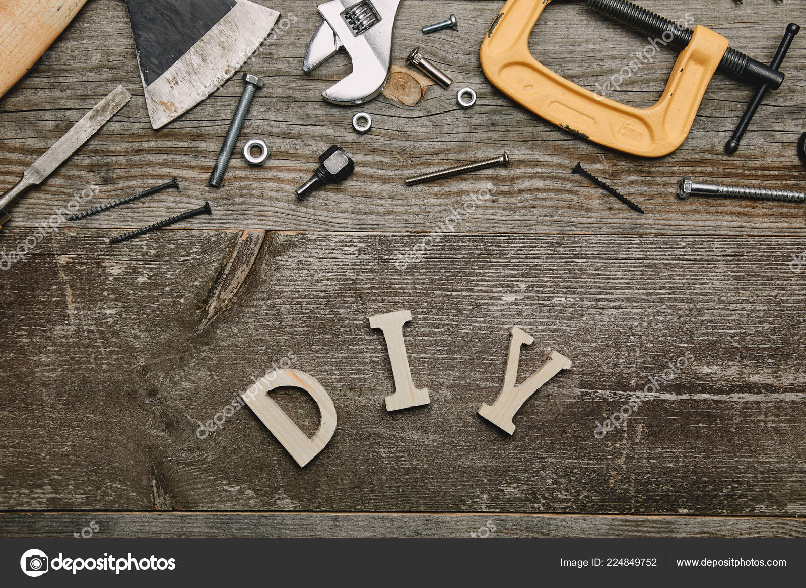 Top View Different Carpentry Tools Diy Sign Wooden Background
