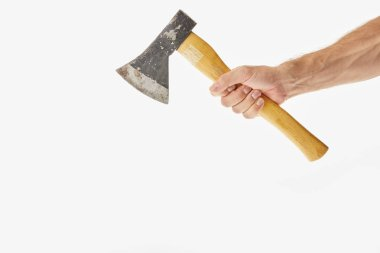 Partial view of man holding axe isolated on white