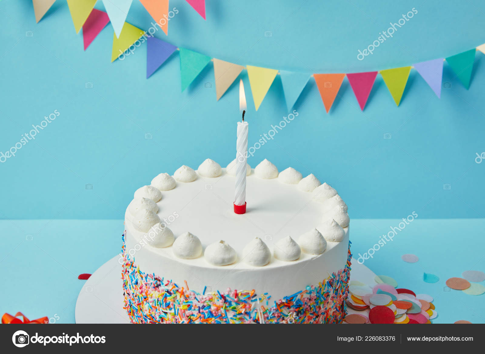 Candle Birthday Cake Sugar Sprinkles Blue Background Bunting Stock Photo