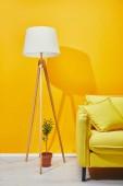 Pohovka, pokojová rostlina a svítilnou žluté zdi