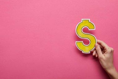 yükseltilmiş, pembe arka plan sarı dolar işareti tutan el görünümünü