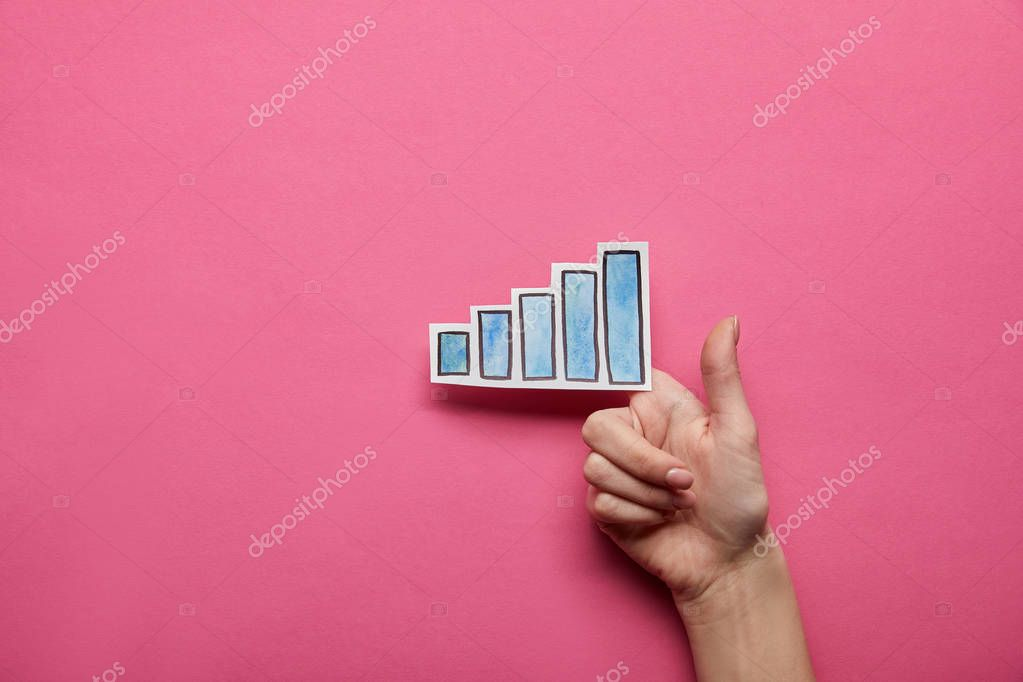 Elevated view of excellent chart with thumb up on pink background stock vector