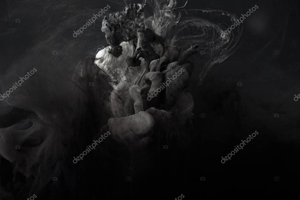 Abstract splash of grey watercolor paint on black background stock vector