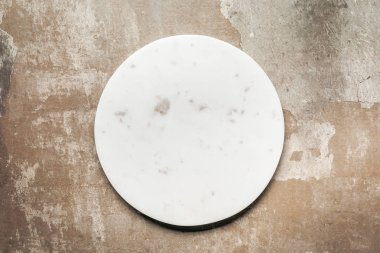 White ceramic plate on rustic background with copy space stock vector