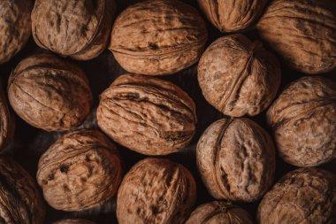 full frame of walnuts arranged as backdrop