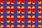 Felülnézet varrat nélküli karácsonyi háttér piros íjakkal sárga díszdobozok