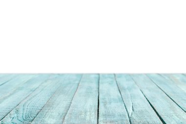 turquoise striped wooden tabletop on white