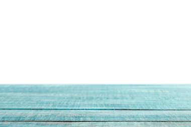 turquoise grungy striped wooden tabletop on white