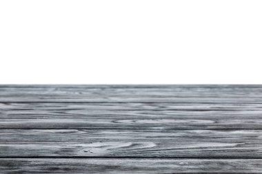 Dark grey striped wooden textured background on white stock vector