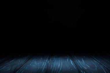 Dark blue striped wooden tabletop on black stock vector