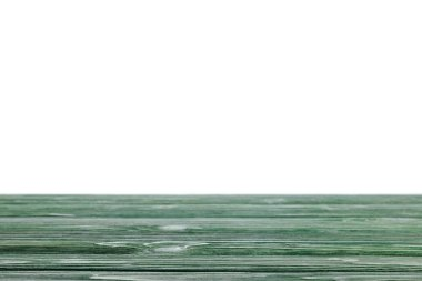 Dark green striped wooden tabletop on white stock vector