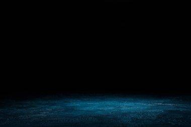Dark blue shabby wooden background on black stock vector