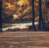 brown striped wooden background on beautiful forest river wallpaper
