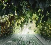 prokládané dřevěné pozadí na krásné zelené listy tapety