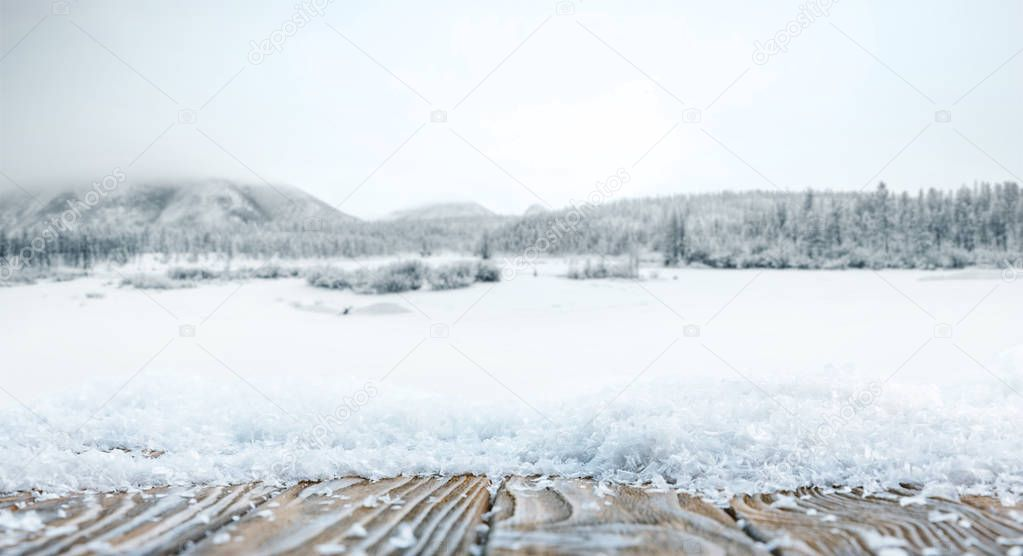 striped brown wooden background on beautiful winter wallpaper