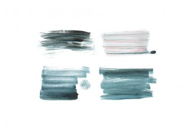 Set of abstract grey, green and blue brushstrokes isolated on white stock vector