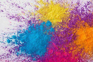 Top view of explotion of yellow, purple, orange and blue holi powder on white background stock vector