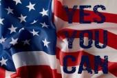 Spojené státy vlajky s modrou Ano můžete písma