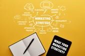 Fotografie Draufsicht von digital-Tablette mit leeren Notebook und marketing-Strategie Abbildung auf gelbem Hintergrund