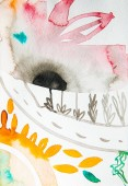 pohled shora abstraktní akvarel vícebarevný obrázek s květinovým potiskem