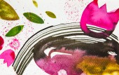 top view of abstract multicolored watercolor picture