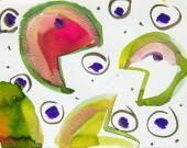 Draufsicht auf abstraktes mehrfarbiges Aquarell-Bild mit Wassermelonenprint
