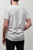 Fényképek másolás hely szürke elszigetelt fehér póló férfi hátulnézet