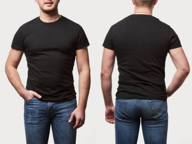 cropped view of man with hand in pocket in basic black t-shirt with copy space isolated on white
