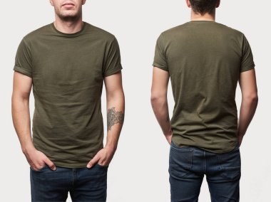 Cropped view of tattooed man in basic khaki t-shirt with copy space isolated on white stock vector