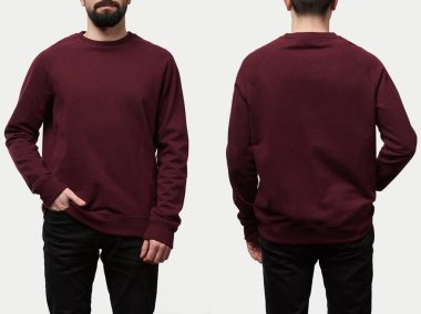 collage of man in burgundy sweatshirt with copy space isolated on white