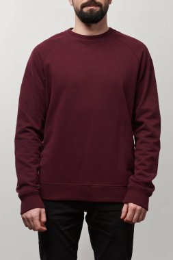 partial view of man in casual burgundy sweatshirt with copy space isolated on grey