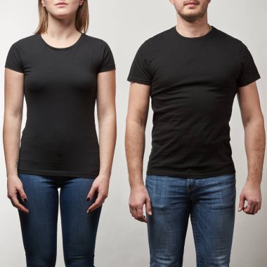cropped view of young man and woman in black t-shirts with copy space isolated on grey
