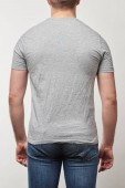 partial view of man in t-shirt with copy space isolated on grey