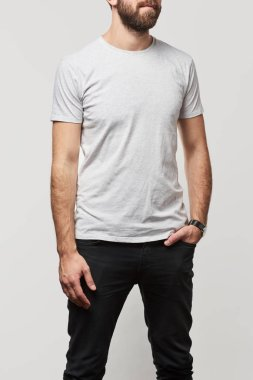 cropped view of man in basic white t-shirt with copy space isolated on white