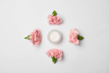 Flat lay of carnations flowers in rhombus arranging and cream container on white background