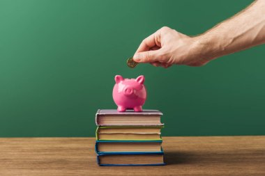 man puting coin in piggy bank on books and green background