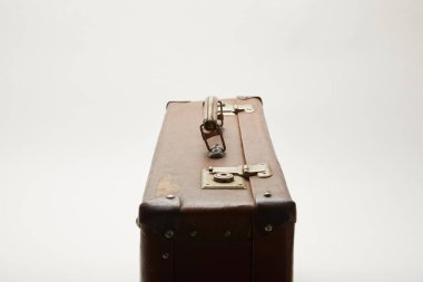 Vintage leather suitcase isolated on grey stock vector