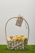 Fotografie easter chicken and quail eggs in straw basket with flower and card with happy easter lettering on grass