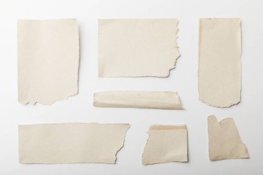 Top view of ripped textured papers isolated on white stock vector