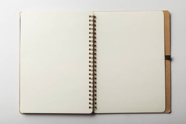 Top view of opened notebook with blank pages on white background stock vector