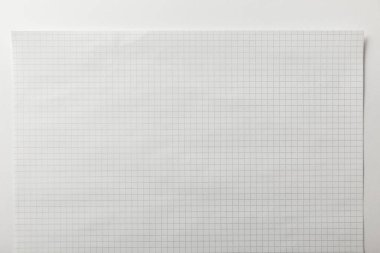 top view of blank squared page on white background