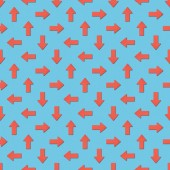collage of red arrows in different directions on blue background, seamless background pattern