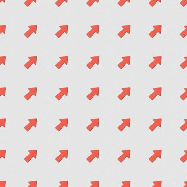 Collage of diagonal red pointers on grey background, seamless background pattern stock vector
